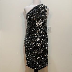 Rachel by Rachel Roy One Shoulder Paillette Dress